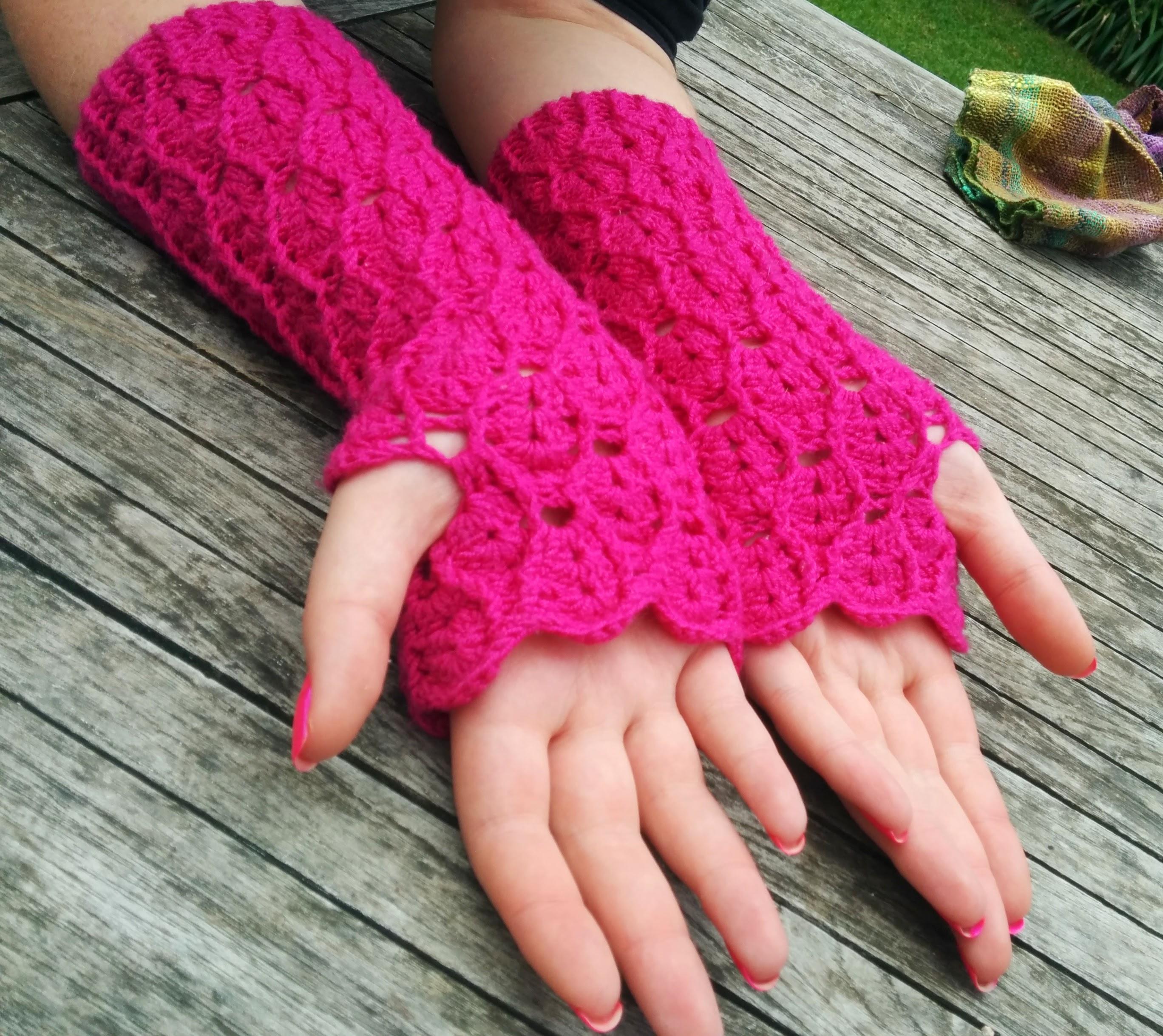 Mermaid scale gloves forever in fibre pink crochet fingerless gloves bankloansurffo Images