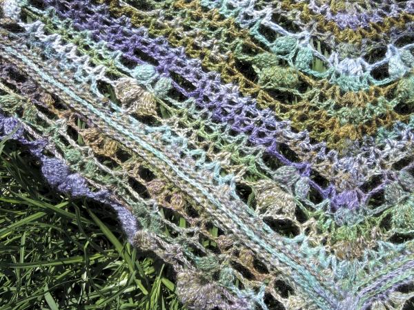 handspun crochet shawl 5194