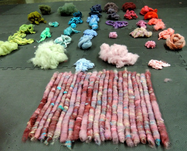 rolags from blending board with hand dyed fibres 6258